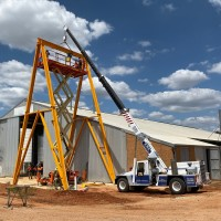 Erected Crane Frame for Nelsons Silos.